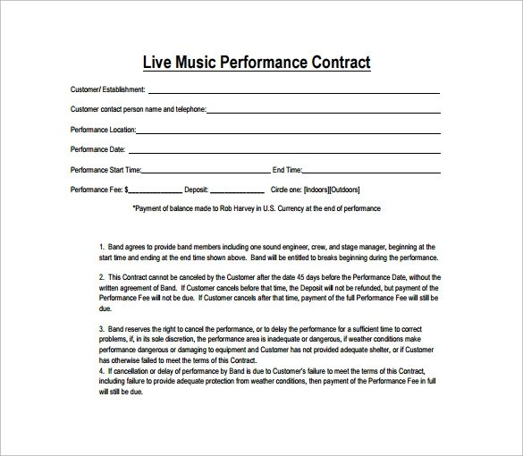 band performance contract template - Romeolandinez