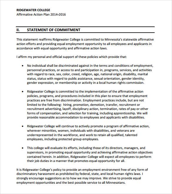 affirmative action plan sample - Onwebioinnovate - affirmative action plan