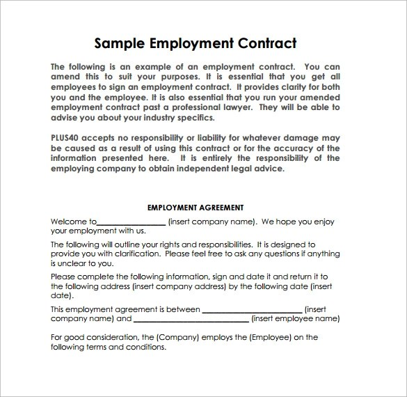 10 Job Contract Templates to Download for Free Sample Templates - labour contract template