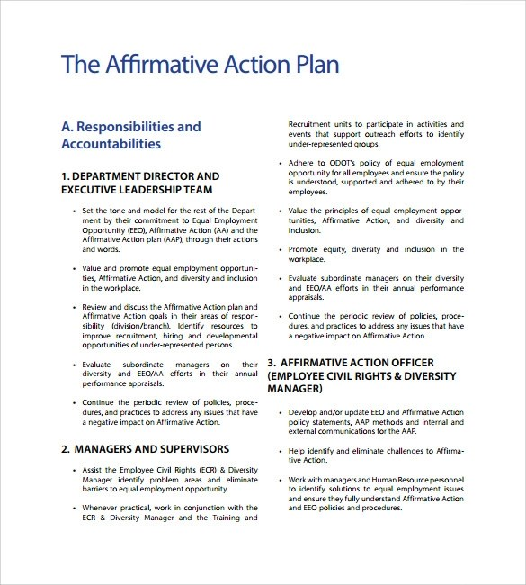 Sample Affirmative Action Plan - 9+ Documents in PDF, Word