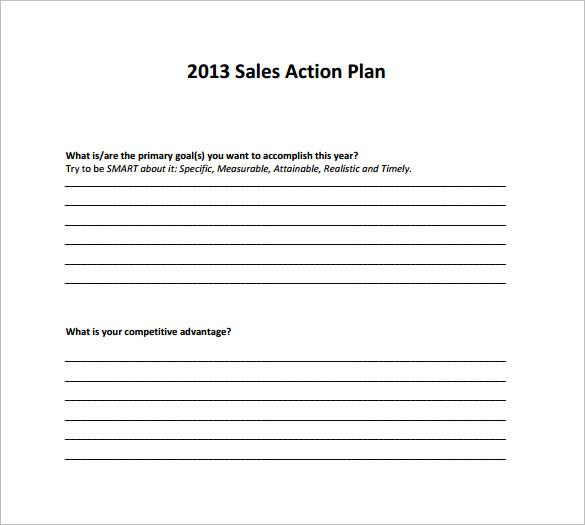 Sample Sales Action Plan - 11+ Example, Format - sample sales plan