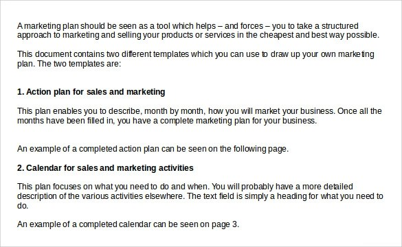 sales plan template word - marketing plan template word