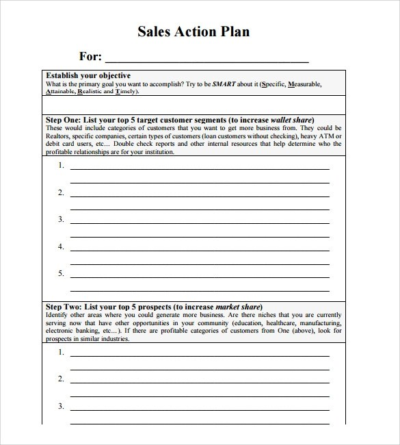 11+ Sales Action Plan Samples Sample Templates - Sales Plan Format