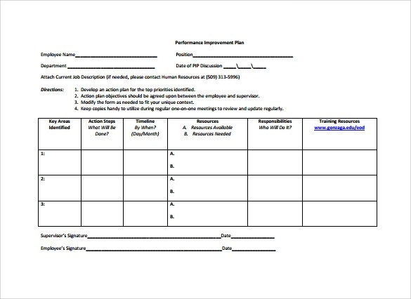 employee action plan template free - Onwebioinnovate