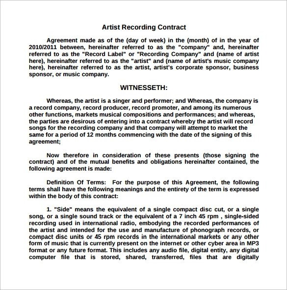 sample recording agreement - Ozilalmanoof - sample artist contract template
