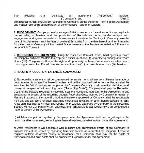 Production Contract Agreement Free Beat Licensing Agreements - production contract agreement