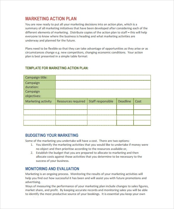 15 Marketing Action Plan Templates to Download for Free Sample - action plan format