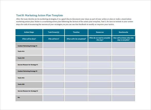 marketing action plan templates - Onwebioinnovate
