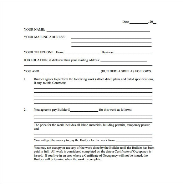 Sample Renovation Contract Template | Resume Maker: Create