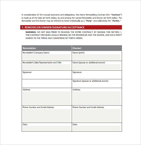 remodeling contract template word