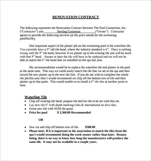remodeling estimate template free