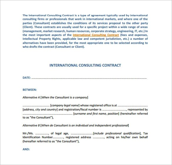 10+ Consulting Contract Templates Sample Templates - consulting contract template