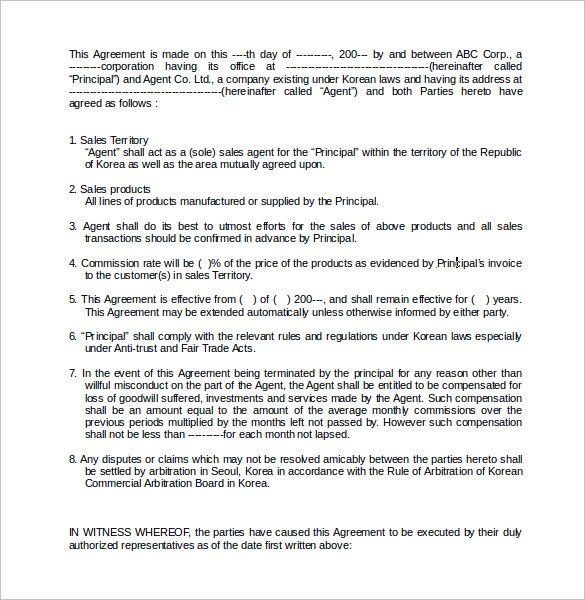 Commission Contract Template - 9+ Download Free Documents in PDF, Word - sales agent contracts