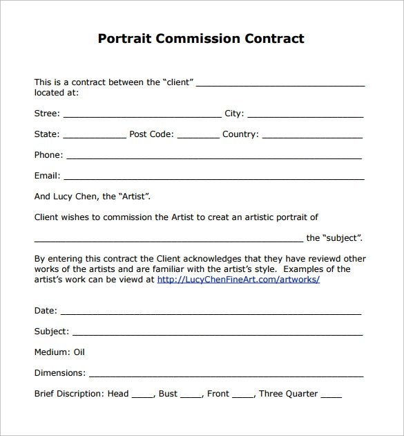 12 Commission Contract Templates to Download for Free Sample Templates - sample artist contract template