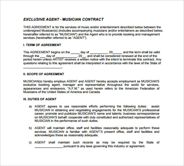 10 Agent Contract Templates to Download for Free Sample Templates
