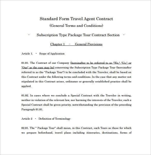 travel contract template - Boatjeremyeaton - Booking Agent Contract Template