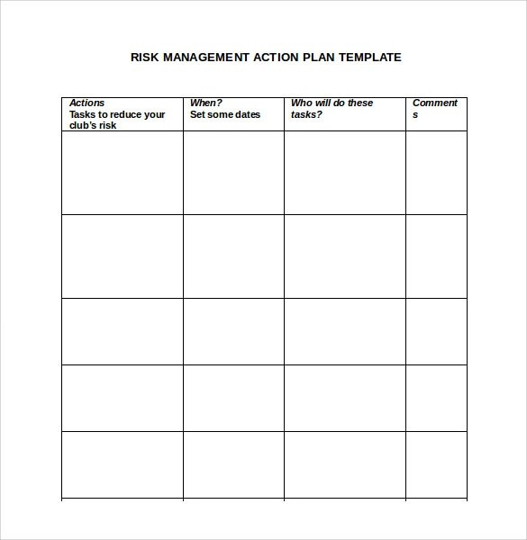 Sample Management Action Plan Template - 13+ Documents in PDF , Word - risk management plan template
