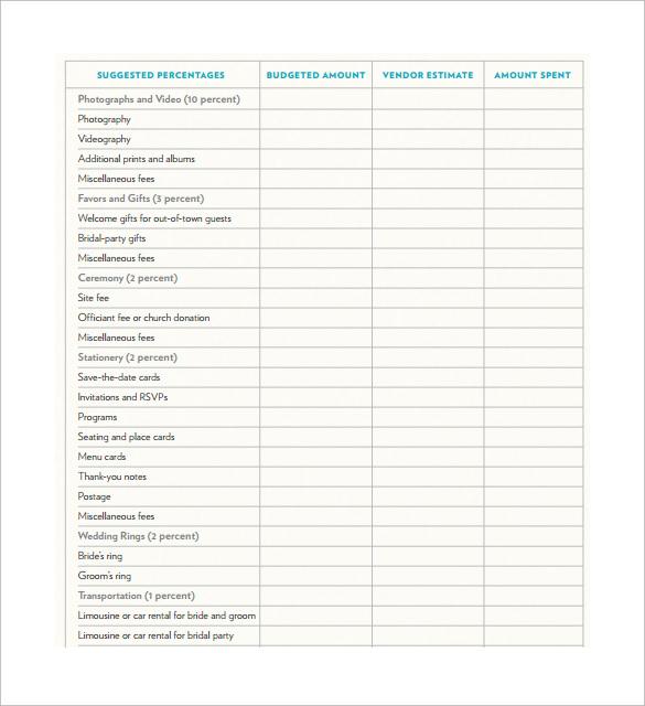 9+ Sample Wedding Budget Calculators Sample Templates