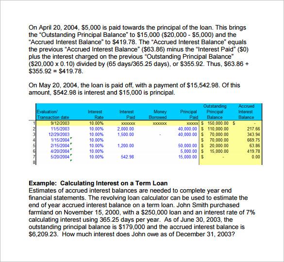 Sample Loan Interest Calculator - 9+ Free Documents in PDF, Excel - loan interest calculator