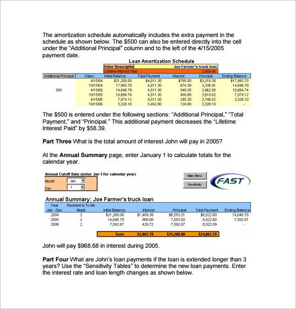 Sample Amortization Schedule Calculator - 9+ Documents in PDF, Excel