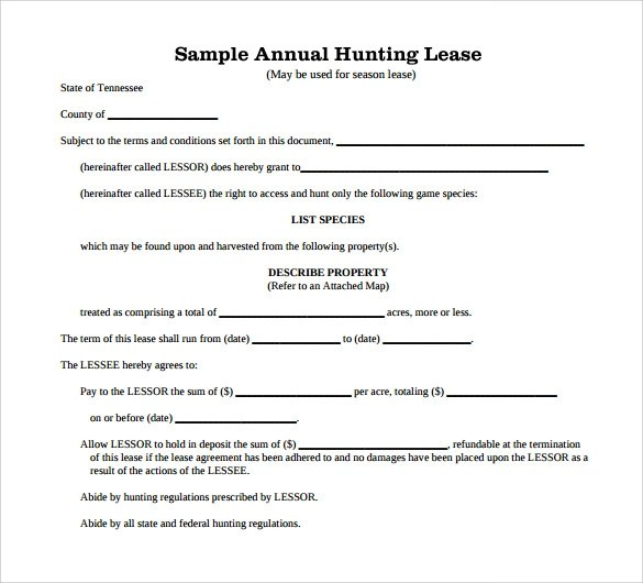 8 Hunting Rental and Lease Form Templates to Download Sample Templates - hunting rental and lease form