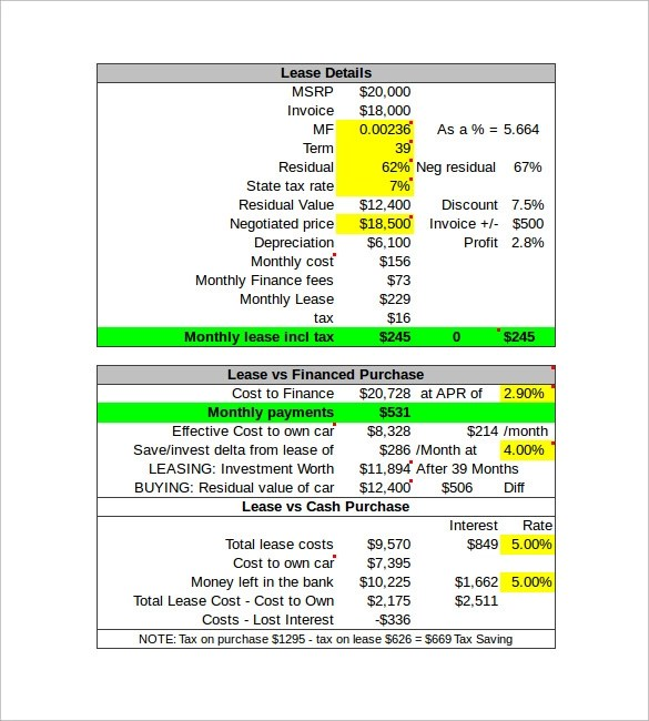 Sample Lease Payment Calculator - 9+ Free Documents in Excel