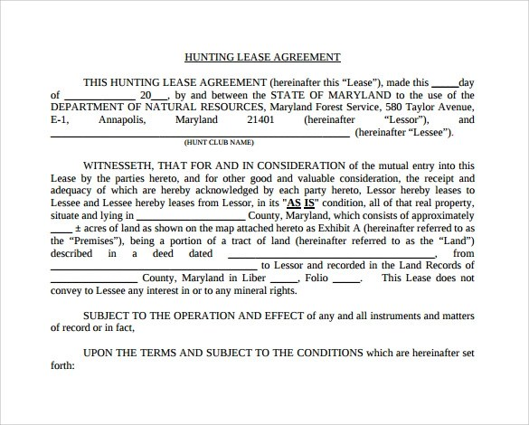 Sample Hunting Rental and Lease Form - 7+ Download Free Documents in
