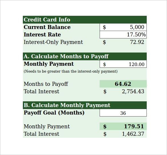 credit card payment calculator - Funfpandroid
