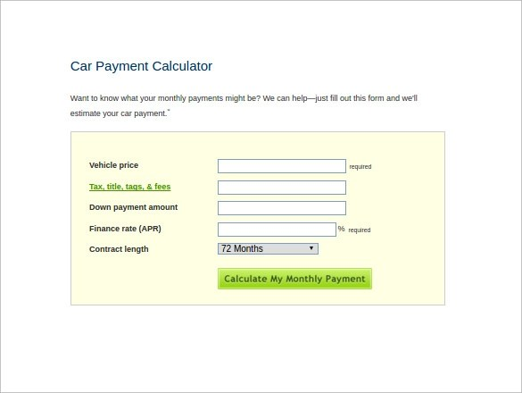 Vehicle Payment Calculator Car Release and Reviews 2018-2019 - car loan calculator