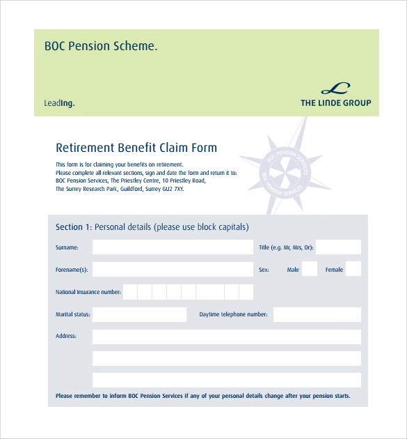 Pension Service Claim Form Sample Proof Of Claim Form Examples In