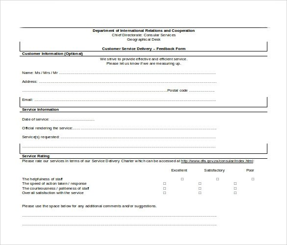 Sample Service Feedback Form - 11+ Download Free Documents in PDF, Word