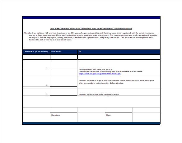 Sample Selective Service Registration Form - 13+ Download Free - service form in word