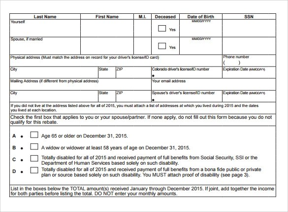 8 Rent Rebate Form Templates to Download Sample Templates - rent rebate form