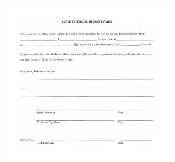 Sample Lease Extension Form - 8+ Download Free Documents in PDF - lease renewal form