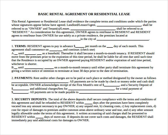 12 Month to Month Rental Agreement Form Templates to Download - month to month lease agreement example