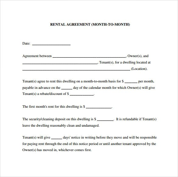 Sample Month to Month Rental Agreement Form - 11+ Free Documents in