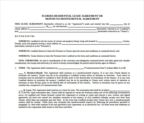 12 Month to Month Rental Agreement Form Templates to Download - Sample Monthly Rental Agreement