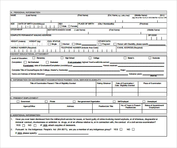 Sample Civil Service Exam Application Form - 8+ Download Free - attendance allowance form