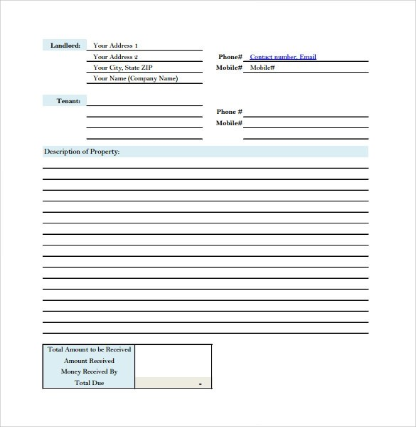 Sample Rent Receipt Form Template - 7+ Free Documents in PDF - house rent receipt form