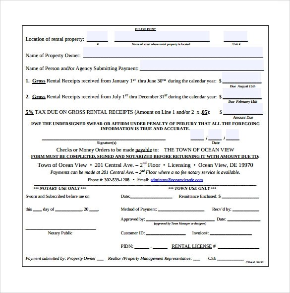 Sample Rent Receipt Form Template - 7+ Free Documents in PDF - printable rent receipts