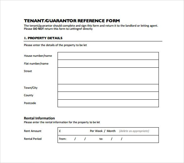 9 Rental Reference Form Templates to Download Sample Templates - Tenant Information Form