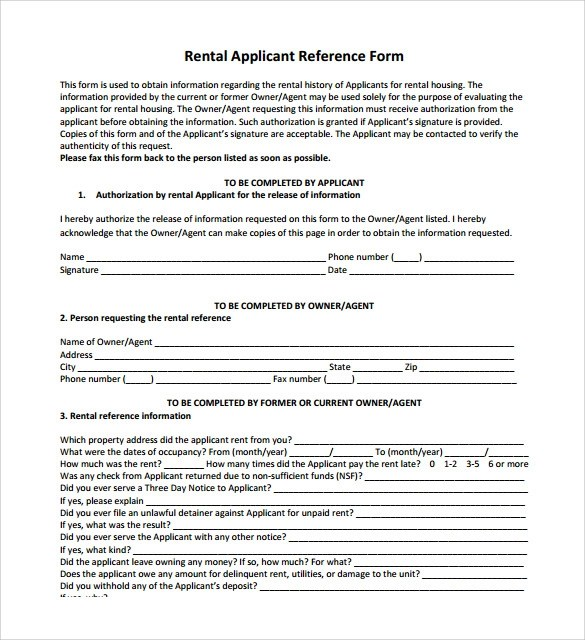 Rental Reference Form Floridarentalapp Free Florida Rental