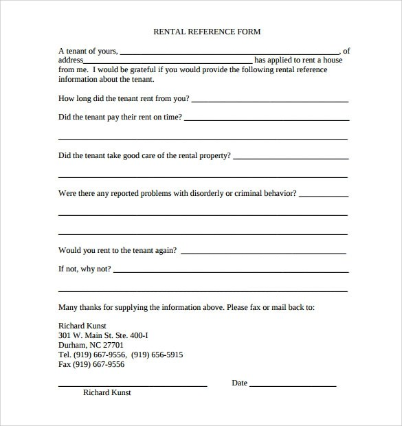 rental reference form - Goalgoodwinmetals - rental reference