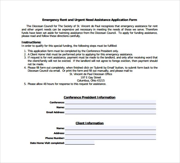 Sample Rental Assistance Form - 10+ Download Free Documents in PDF, Word