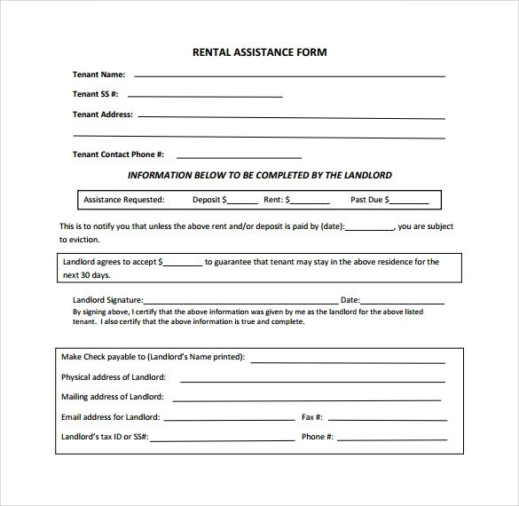 11 Rental Assistance Form Templates to Download for Free Sample - rental assistance form