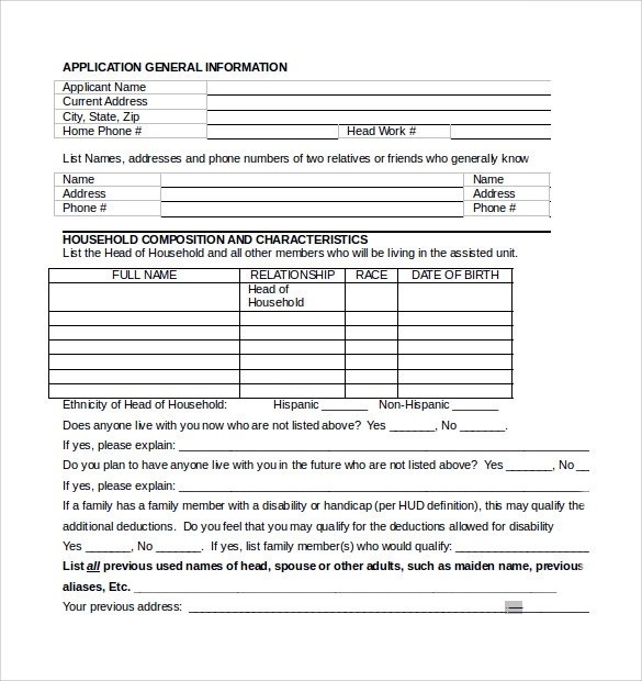 Basic Application Formsrental Assistance Form. Terminating