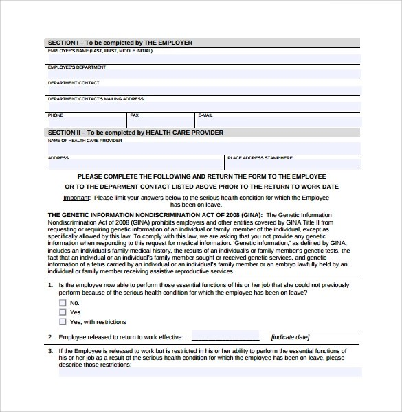 16+ Return to Work Medical Form Templates \u2013 PDF, Word Sample Templates