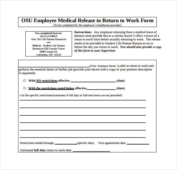 Sample Return to Work Medical Form - 15+ Download Free Documents - work release form