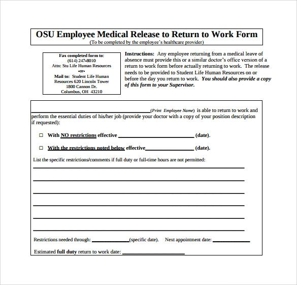 printable return to work form