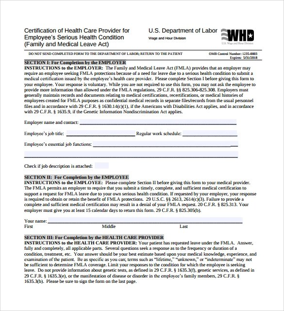 Family Medical Leave Act Form Form With Diagnosis Fetal Alcohol - medical leave form